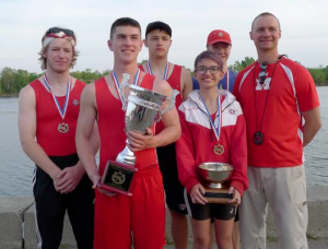 Nico Gilmore,  Liam Hines, Robert McCullough, Olivia Sidoti (coxswain), Will Hess, Coach Bill Hamel - photo by  Adam Gilmore